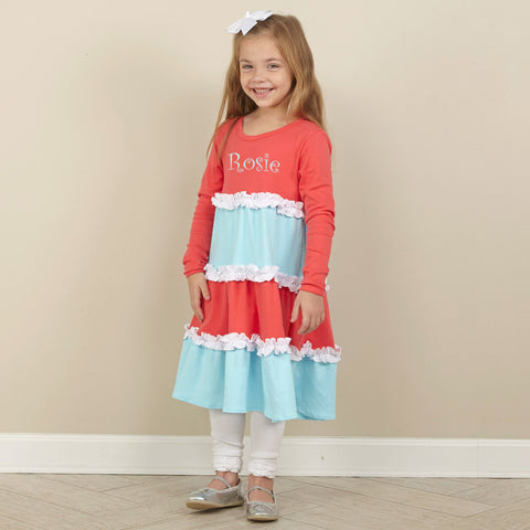 Coral Aqua Squinchy Dress