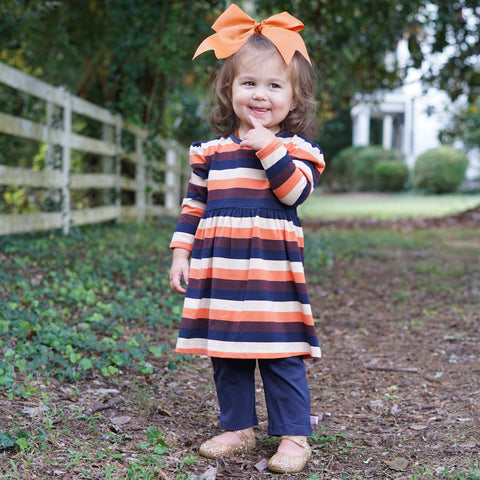 Fall Navy Stripe Dress with Leggings