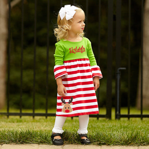 Red Green Stripe Empire Dress