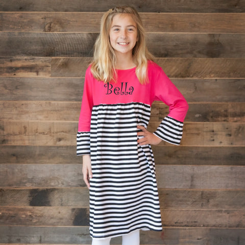 Hot Pink Stripe Empire Dress