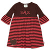 Brown Coral Stripe Empire Dress