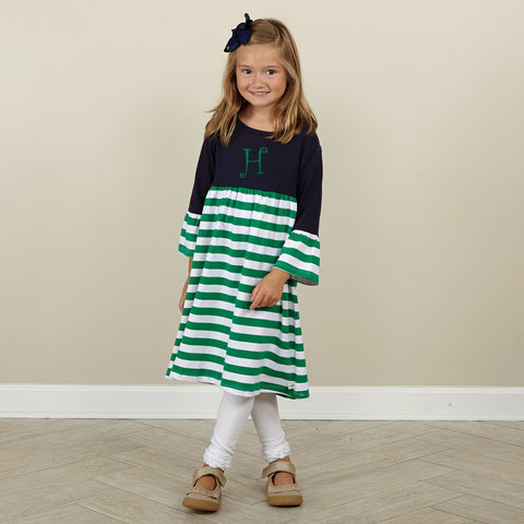 Navy Green Stripe Empire Dress