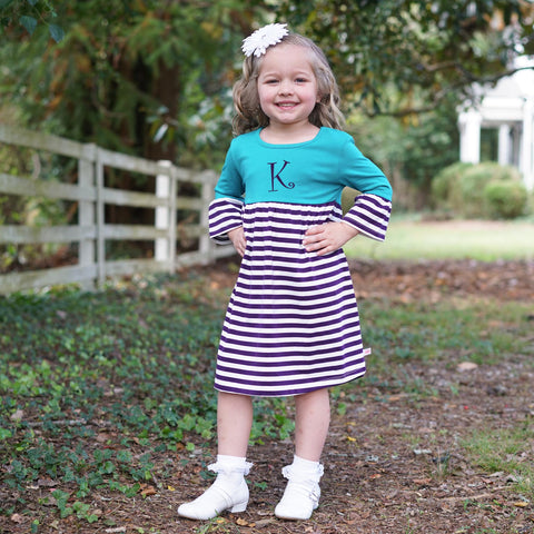 Jade Purple Stripe Empire Dress