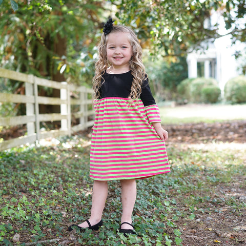 Black Hot Pink Lime Stripe Empire Dress