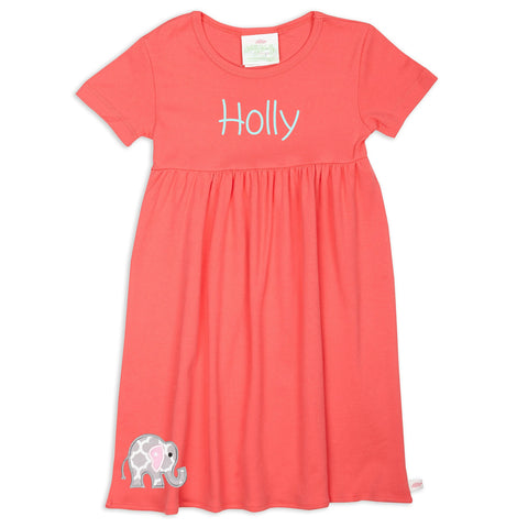 Girls Coral Empire Cotton Dress
