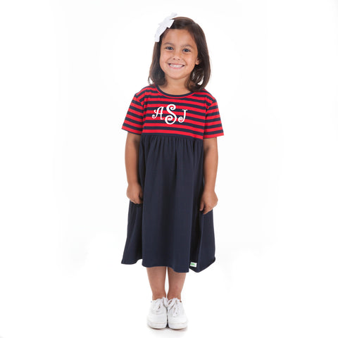 Navy Red Stripe Dress
