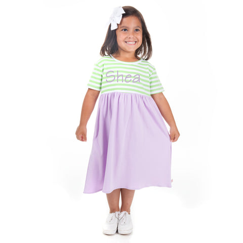 Lavender Mint Stripe Dress