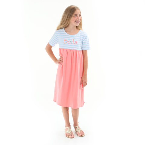 Light Blue Stripe Peach Empire Dress