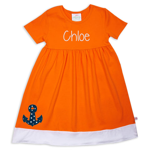 Orange White Band Empire Dress