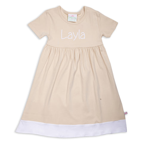 Tan White Band Empire Dress