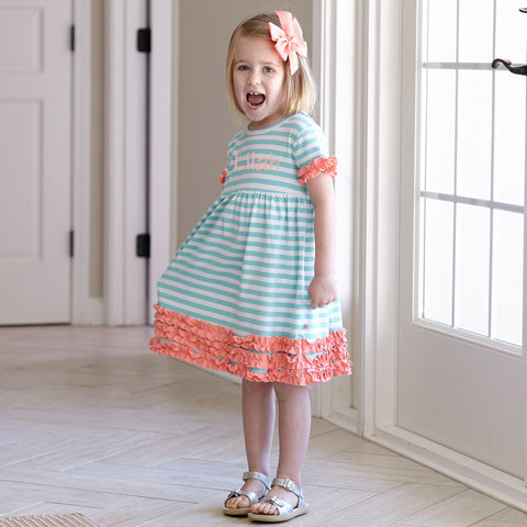 Girls Tiffany Stripe Peach Squinchy Dress