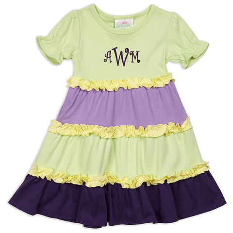 Girls Light Green Multi Color Squinchy Dress