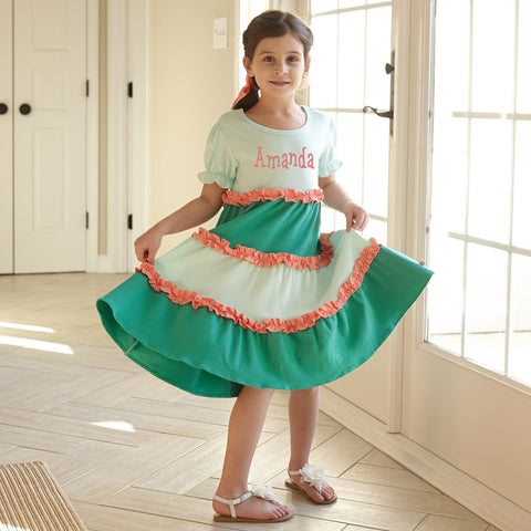 Girls Tiffany Peach Squinchy Dress