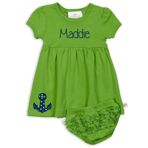 Baby Girls Green Dress with Bloomers