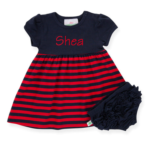 Navy Red Stripe Dress with Bloomers