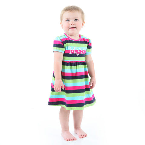 Navy Pink Stripe Dress with Bloomers