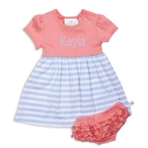 Light Blue Peach Stripe Dress with Bloomers