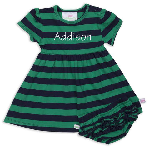 Green Navy Stripe Dress with Bloomers