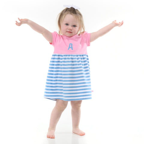 Blue Stripe Pink Dress with Bloomers