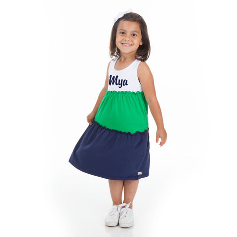 White Green Navy Tank Tier Dress