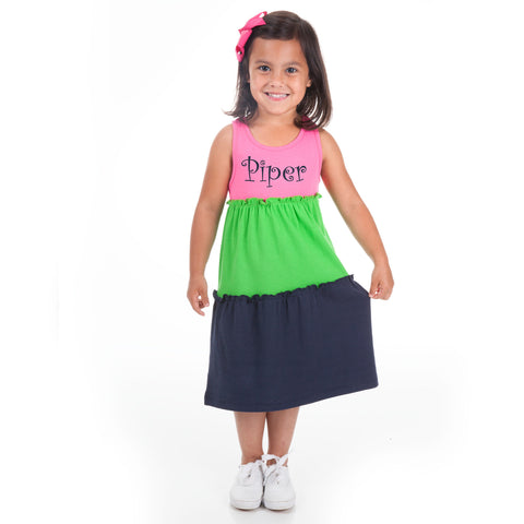 Hot Pink Green Navy Tank Tier Dress
