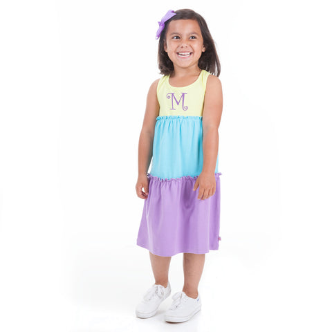 Yellow Turquoise Lavender Tank Tier Dress