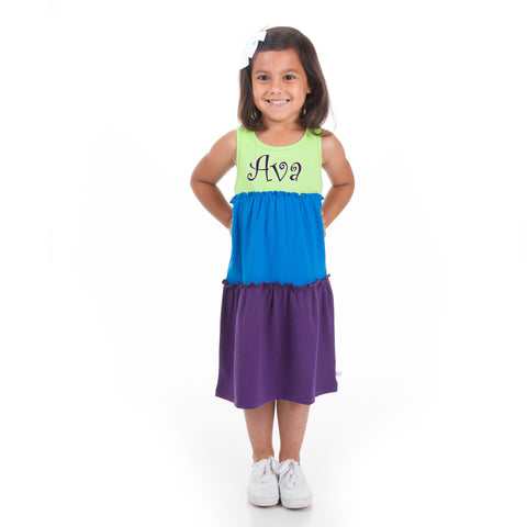 Lime Blue Purple Tank Tier Dress