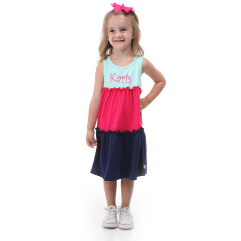 Tiffany Hot Pink Navy Tank Tier Dress