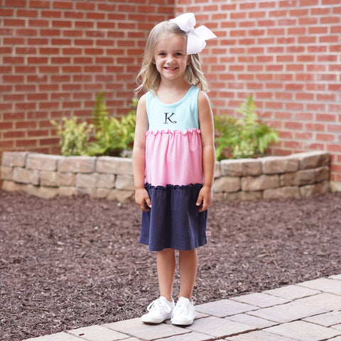 Aqua Pink Navy Tank Tier Dress