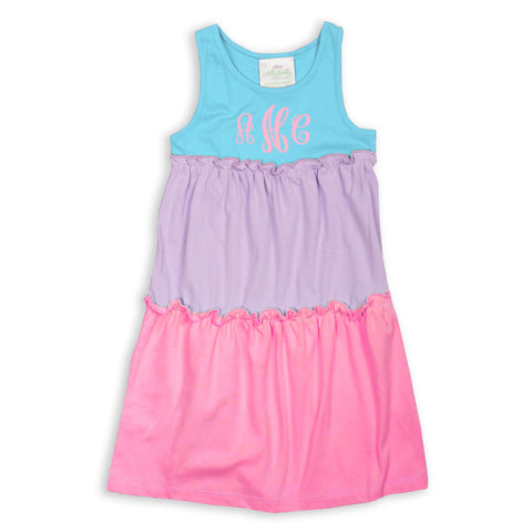 Aqua Lavender Pink Tank Tier Dress