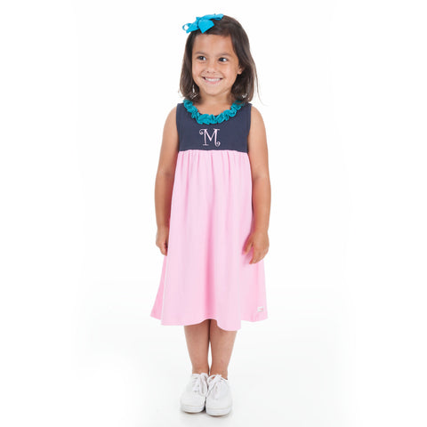 Navy Pink Ruffle Neck Dress