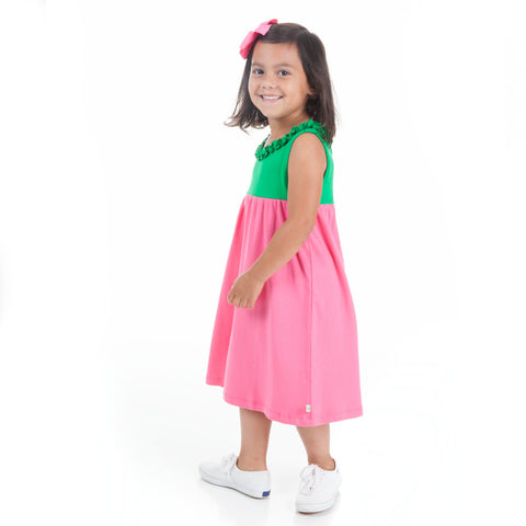 Green Hot Pink Ruffle Neck Dress