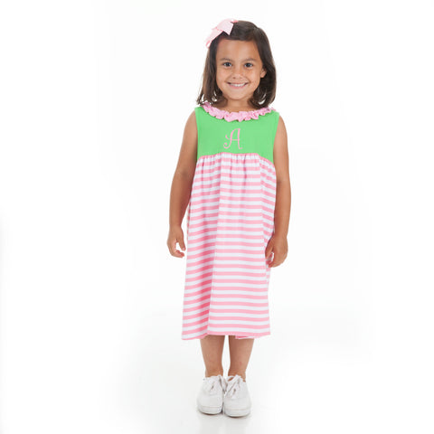Apple Green Pink Stripe Ruffle Neck Dress