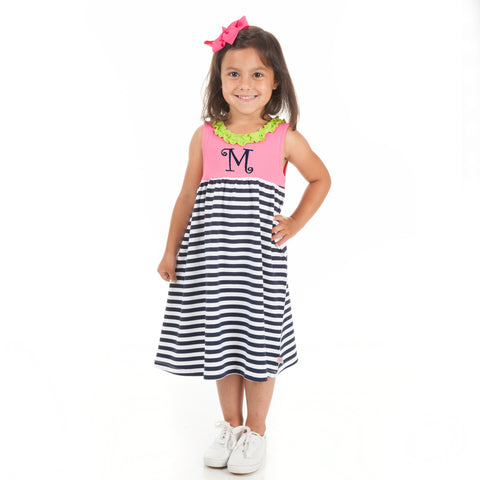 Hot Pink Navy Stripe Ruffle Neck Dress