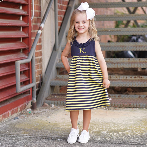 Navy Yellow Stripe Ruffle Neck Dress