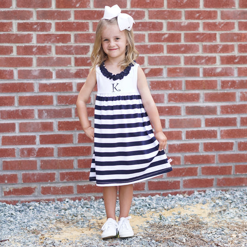 Navy Stripe Ruffle Neck Dress
