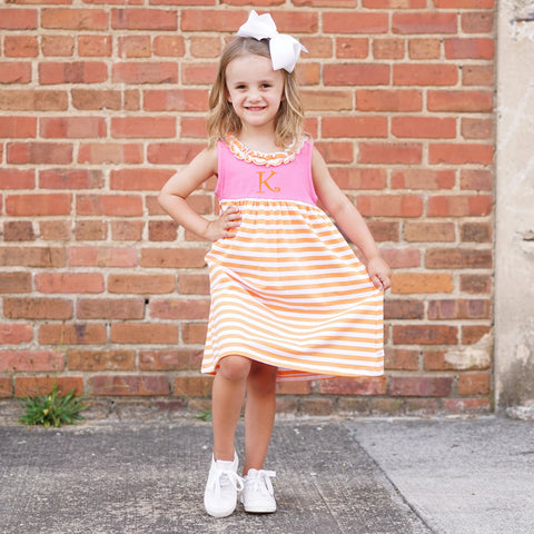 Orange Stripe Hot Pink Ruffle Neck Dress