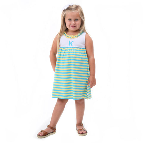 Yellow Turquoise Stripe Ruffle Neck Dress