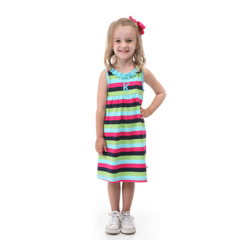 Navy Pink Stripe Ruffle Neck Dress