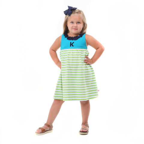 Teal Lime Stripe Navy Ruffle Neck Dress
