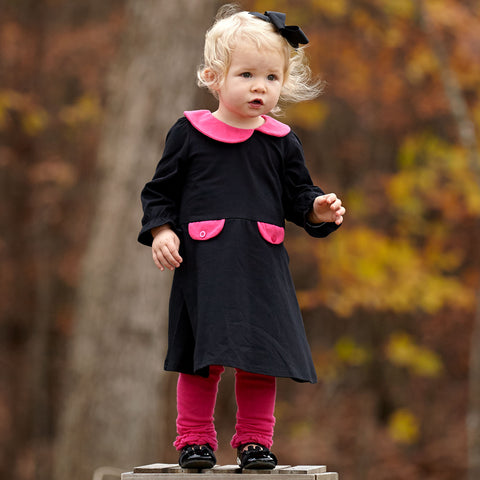 Black Fuschia Collar Dress