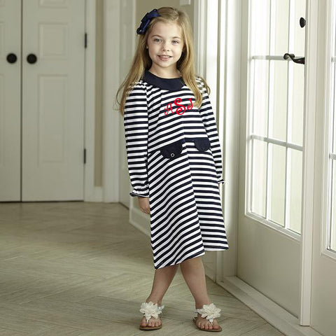 Navy Stripe Collar Dress