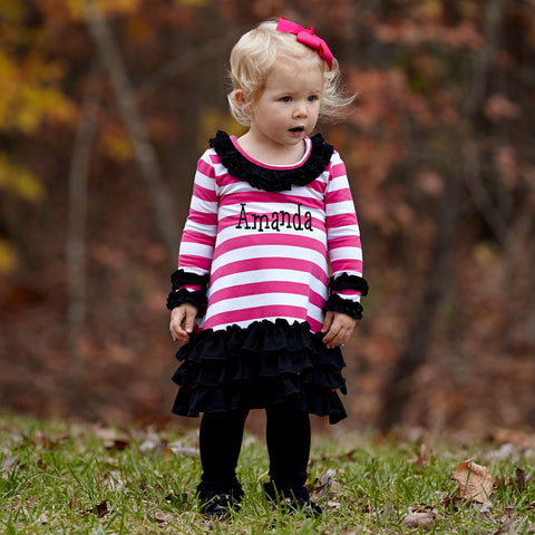 Hot Pink Stripe Black Ruffle Dress