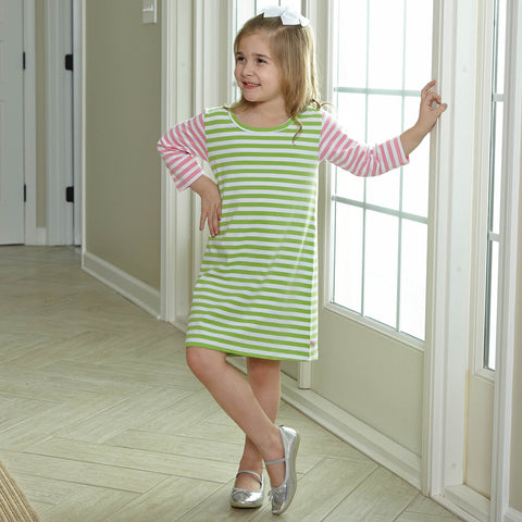 Lime & Candy Pink Stripe Dress