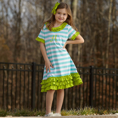 Aqua Stripe Lime Dress