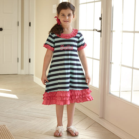 Aqua Navy Stripe Ruffle Dress