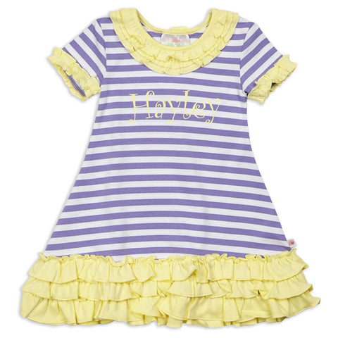 Girls Lavender Stripe Yellow Ruffle Dress