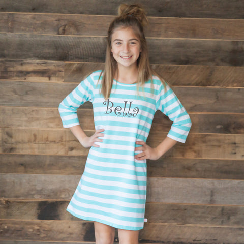 Aqua Stripe Shift Dress