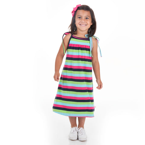 Navy Pink Stripe Tie Dress