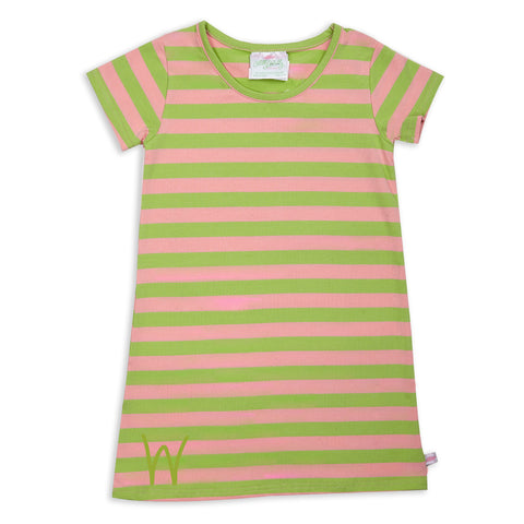 Peach Lime Stripe Dress